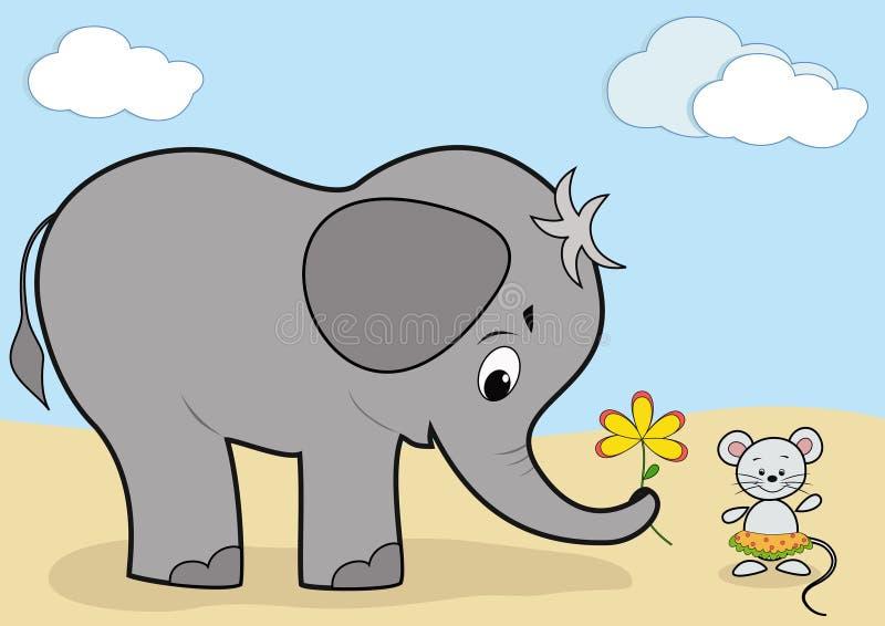 Elefante e mouse del bambino illustrazione di stock