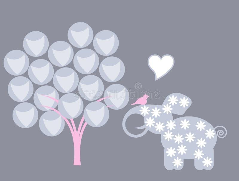 Elefante e pássaros ilustração stock