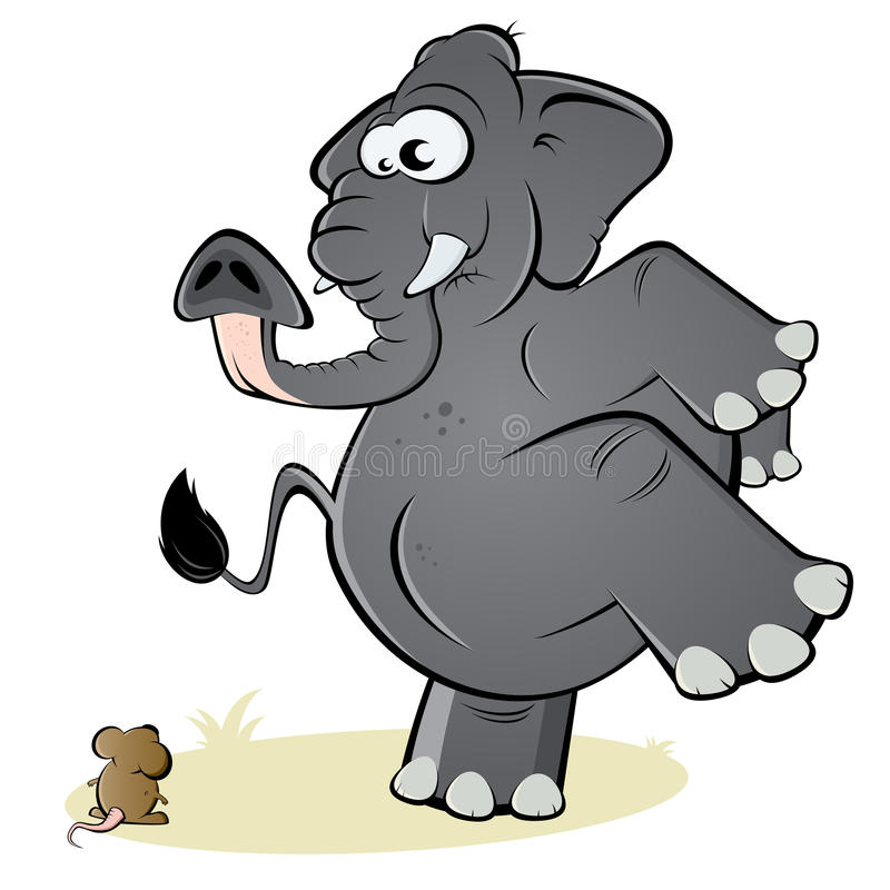 Elefante e rato ilustração royalty free