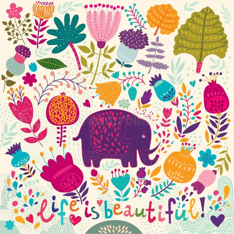 Elefante e teste padrão colorido da mola ilustração do vetor