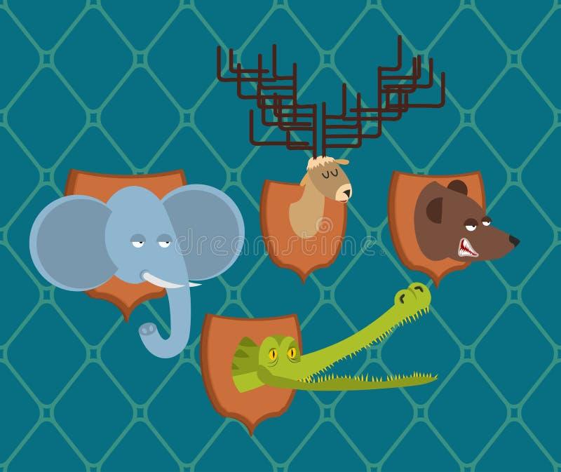 Elefante ed orso stabiliti del trofeo del cacciatore Alci cape e coccodrillo sopra royalty illustrazione gratis