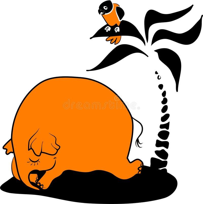 Elefante el dormir stock de ilustración