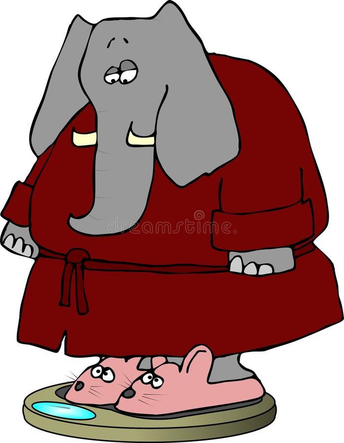 Elefante em deslizadores do coelho ilustração stock