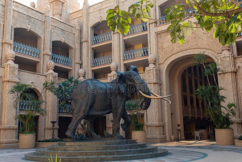Elefante em Sun City, cidade perdida em África do Sul fotos de stock