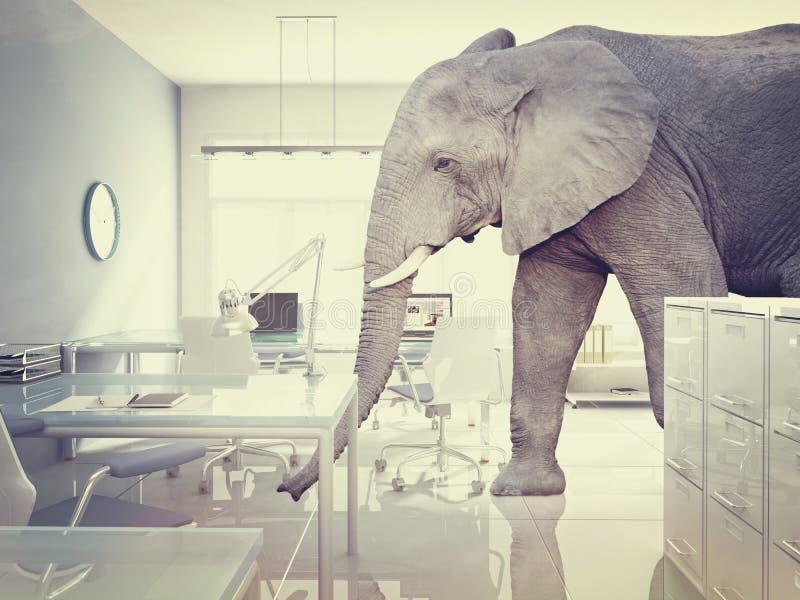Elefante em uma sala ilustração do vetor