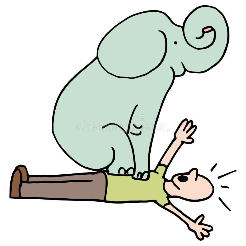 Elefante en asma del pecho del hombre stock de ilustración