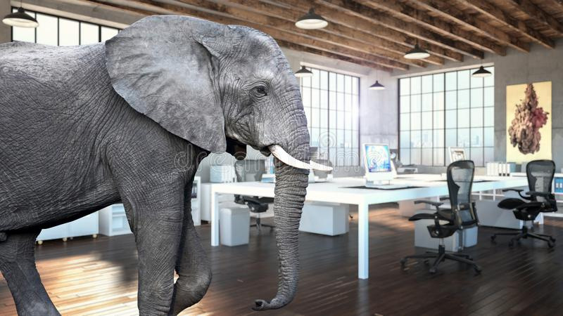 Elefante en el cuarto ilustración del vector