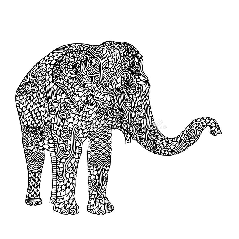 Elefante En Estilo Asiático Modelo De La Mandala Para El Libro De ...