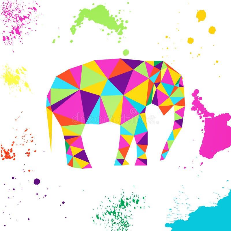 Elefante en estilo geométrico de la papiroflexia stock de ilustración