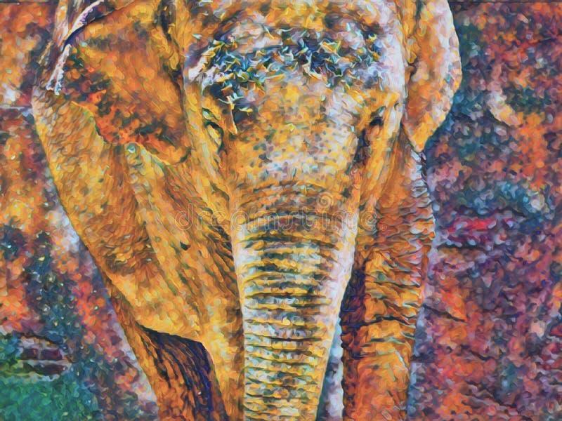 Elefante en la selva stock de ilustración