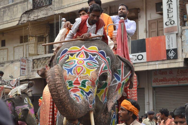 Elefante en Rathyatra, Ahmadabad foto de archivo libre de regalías