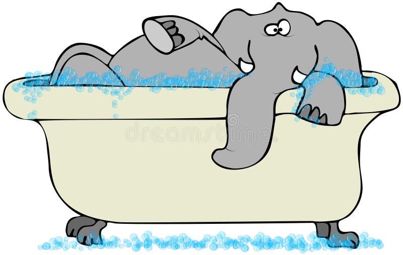 Elefante en una bañera ilustración del vector