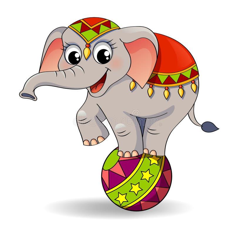 Elefante engraçado do circo dos desenhos animados que equilibra na bola ilustração do vetor