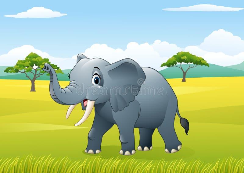 Elefante engraçado dos desenhos animados na selva ilustração royalty free