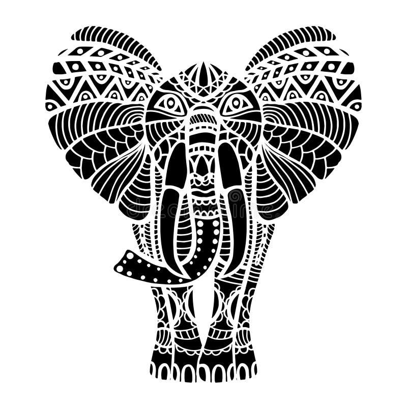 Elefante estilizado del negro stock de ilustración