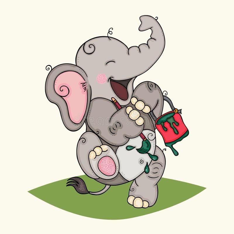 Elefante felice che tiene la latta e la spazzola della pittura illustrazione vettoriale