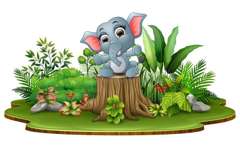 Elefante felice del bambino del fumetto che si siede sul ceppo di albero con le piante verdi illustrazione vettoriale