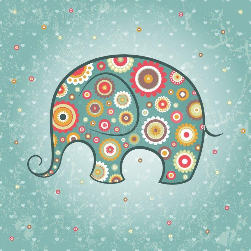 Elefante floreale di vettore royalty illustrazione gratis