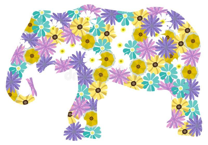 Elefante floreale di vettore isolato su fondo bianco illustrazione vettoriale