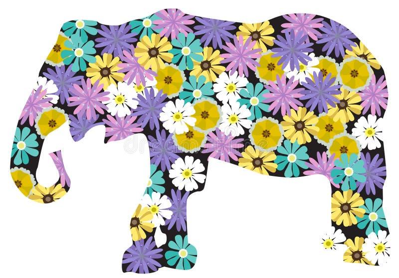 Elefante floreale di vettore isolato su fondo bianco illustrazione di stock