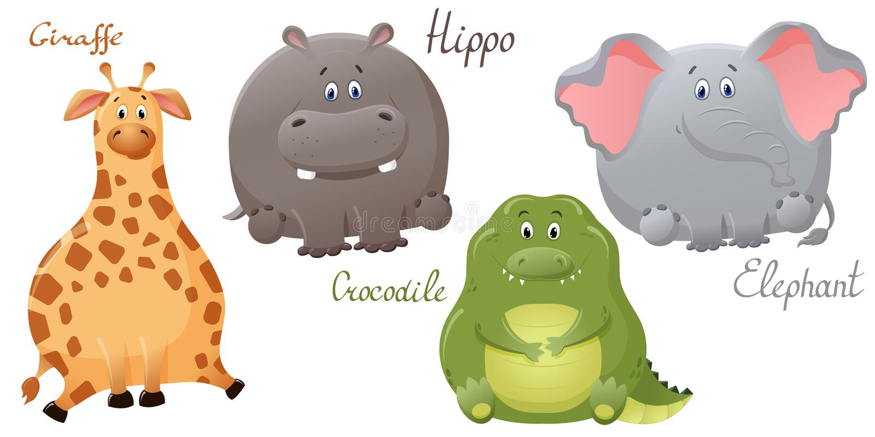 Elefante, giraffa, coccodrillo e ippopotamo divertenti Metta dei personaggi dei cartoni animati grassi svegli Il concetto di prog illustrazione vettoriale