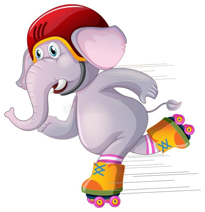 Elefante gris que patina en el fondo blanco ilustración del vector