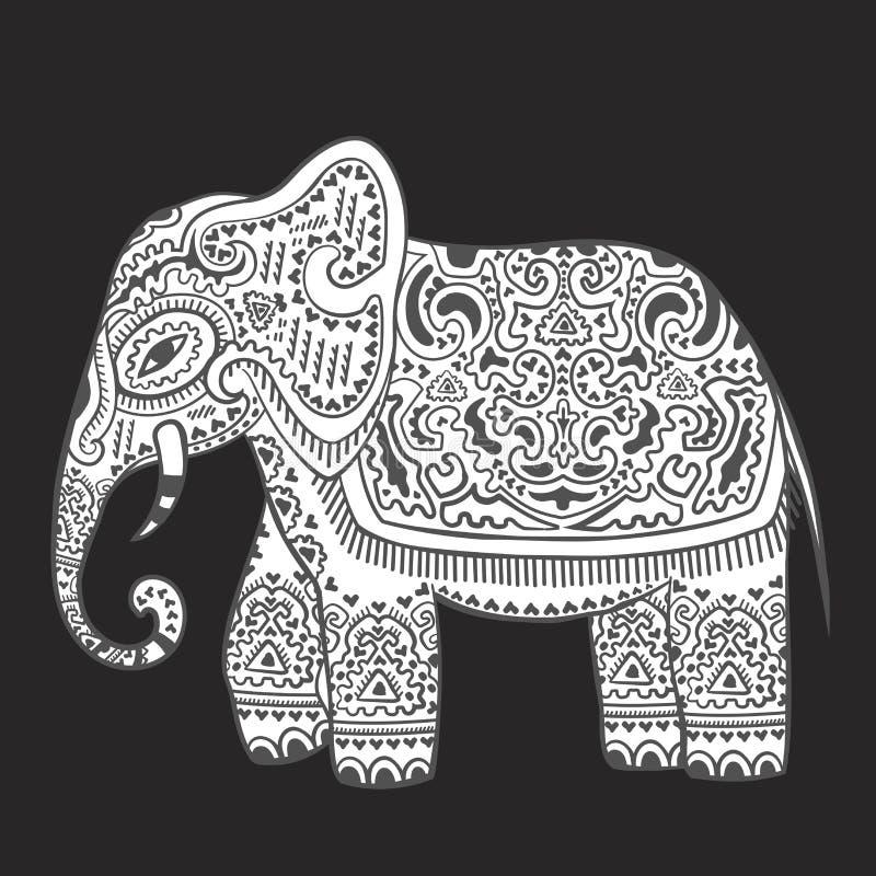 Elefante indiano d'annata con gli ornamenti tribali Saluto della mandala royalty illustrazione gratis