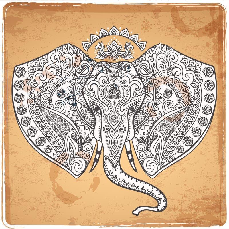 Elefante indiano d'annata con gli ornamenti tribali Saluto della mandala illustrazione di stock