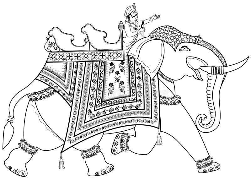 Elefante indiano decorado ilustração do vetor