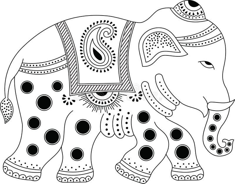 Elefante indiano decorado ilustração royalty free