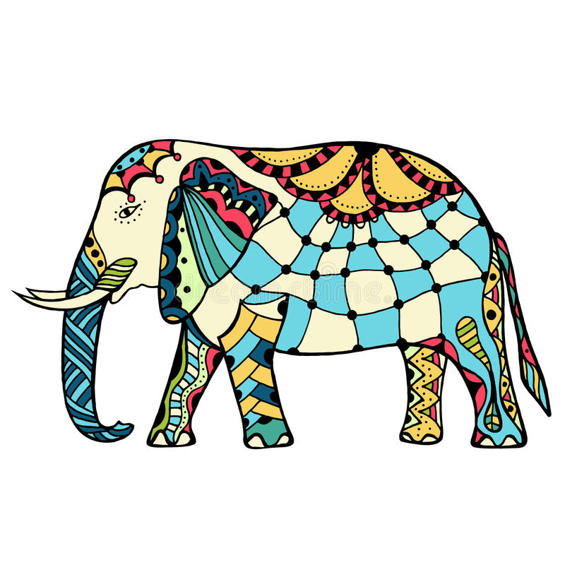Elefante indiano decorado ilustração stock