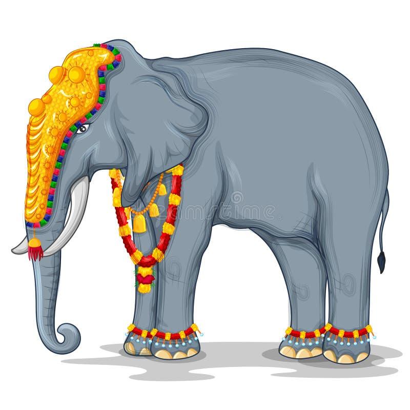 Elefante indiano decorado usado no festival diferente da Índia como Onam, procissão de Dussehra ilustração royalty free