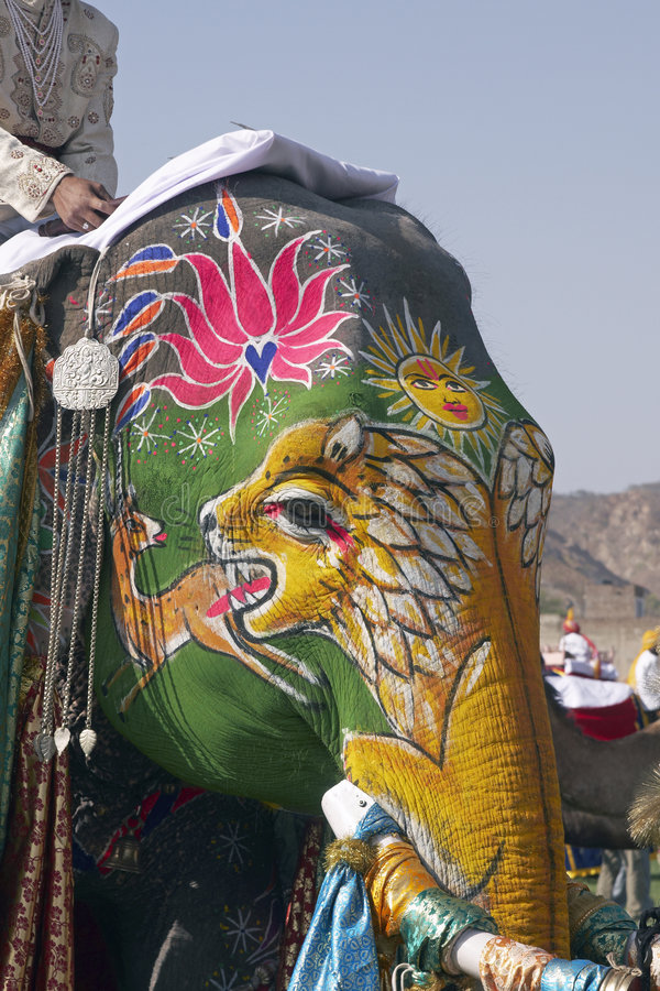 Elefante indiano decorato immagini stock libere da diritti