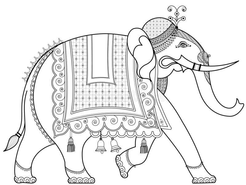 Elefante indiano decorato illustrazione vettoriale