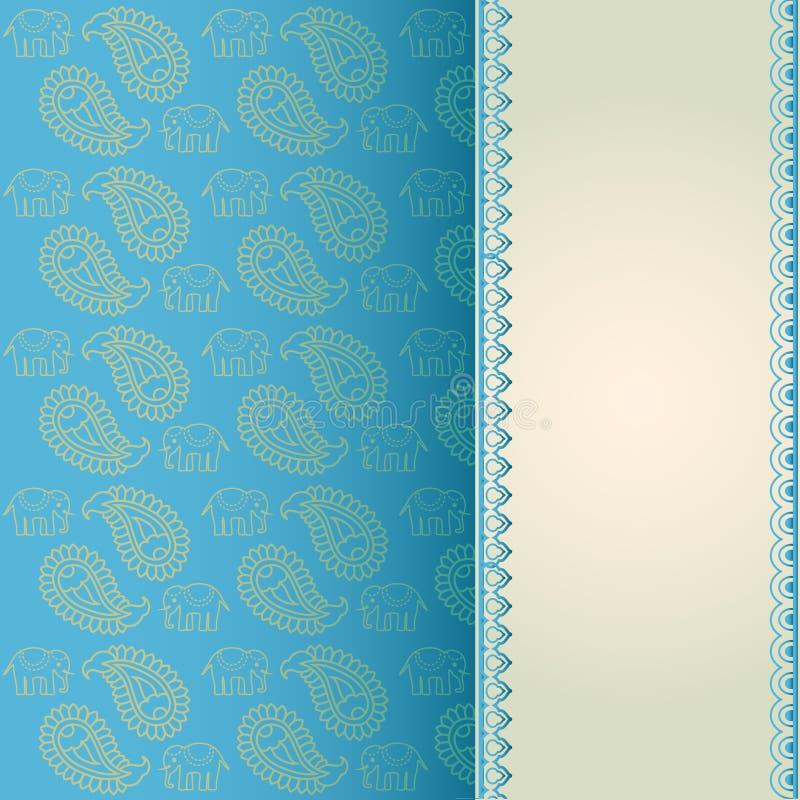Elefante indiano e cartão do azul de paisley ilustração royalty free