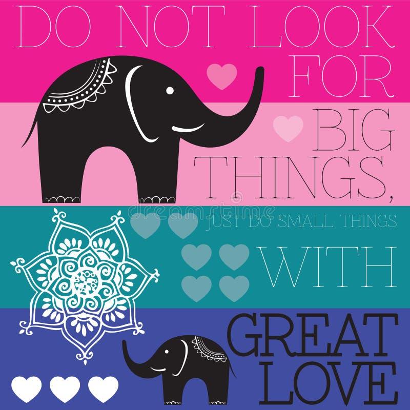 Elefante indio con vector del amor ilustración del vector