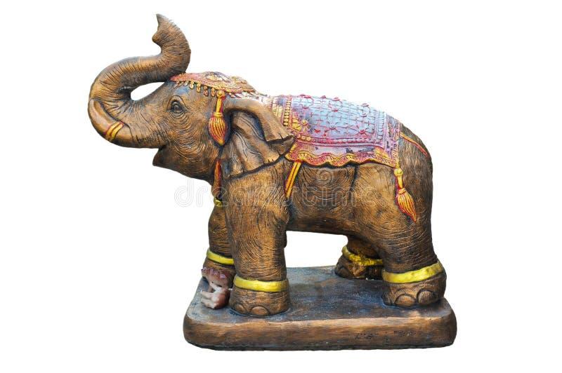 Elefante indio del metal aislado en blanco imagenes de archivo