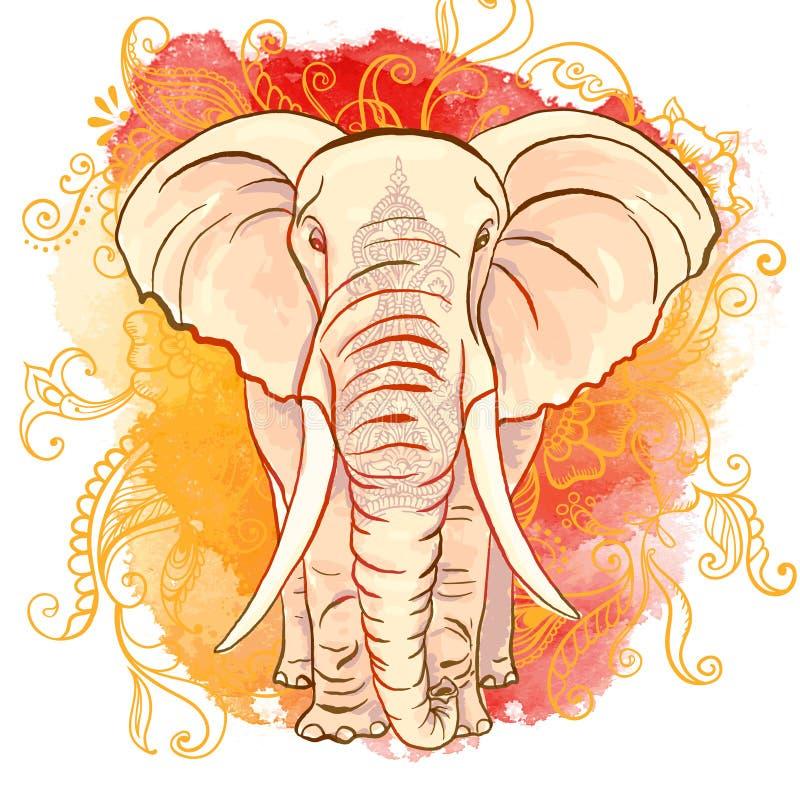 Elefante indio del vector en la mancha blanca /negra de la acuarela stock de ilustración