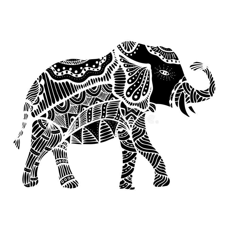 Elefante indio negro ilustración del vector