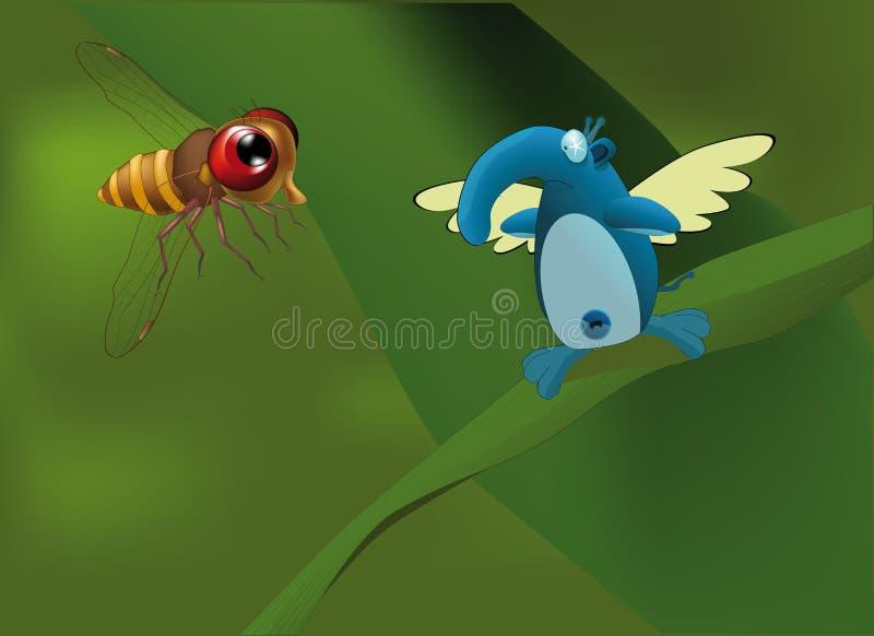 Elefante la farfalla e un ape illustrazione di stock