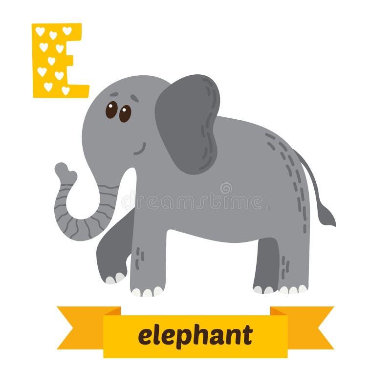 Elefante Lettera di E Alfabeto animale dei bambini svegli nel vettore Divertimento royalty illustrazione gratis