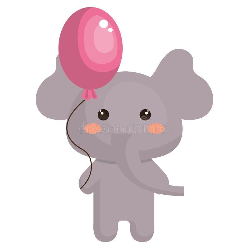 Elefante lindo con el carácter del kawaii del helio del globo ilustración del vector