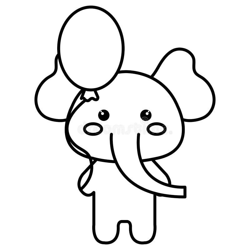 Elefante lindo con el carácter del kawaii del helio del globo stock de ilustración