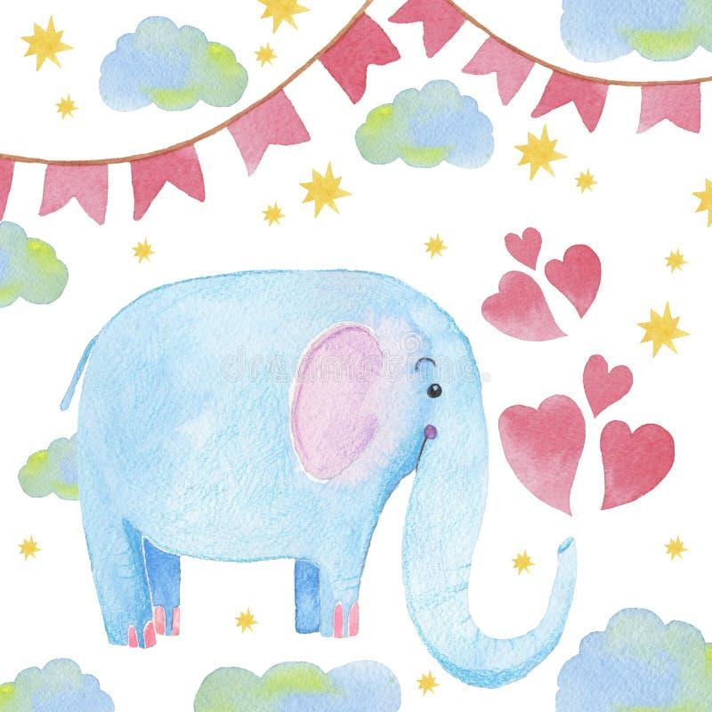 Elefante lindo con el ejemplo dibujado mano de la acuarela de la historieta Puede ser utilizado para la impresión de la camiseta  stock de ilustración
