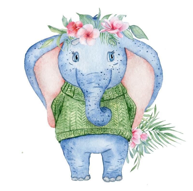 Elefante lindo de la acuarela en suéter hecho punto verde con el ejemplo animal del ramo de las flores ilustración del vector