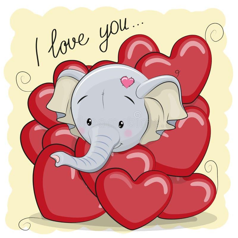 Elefante lindo de la historieta en corazones ilustración del vector