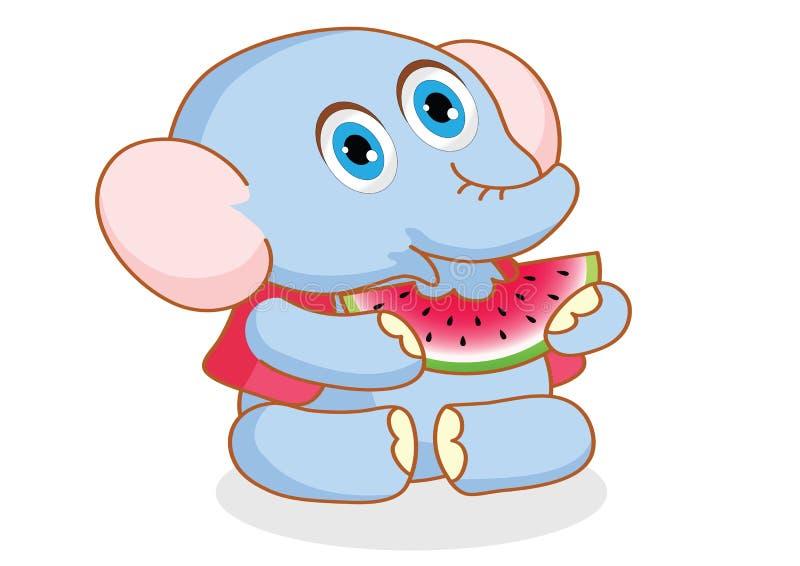 Elefante lindo de la historieta que come la sandía stock de ilustración
