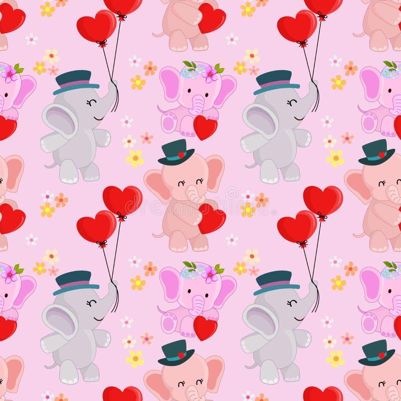 Elefante lindo del bebé de la historieta con el globo de la forma del corazón stock de ilustración