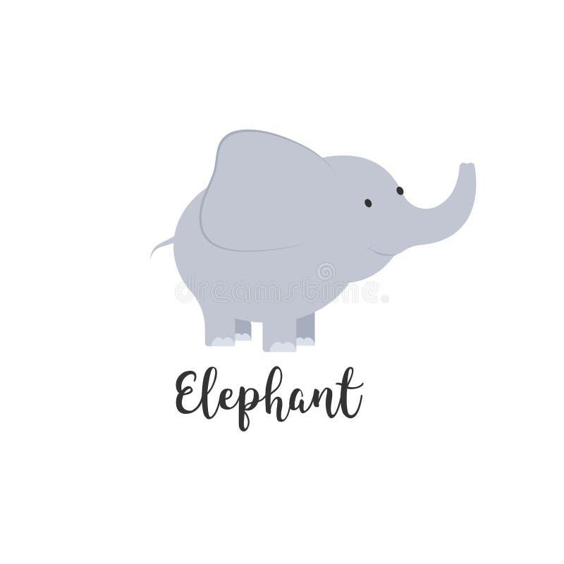 Elefante lindo del bebé de la historieta Los ejemplos adorables del elefante para las tarjetas de felicitación y la invitación de ilustración del vector