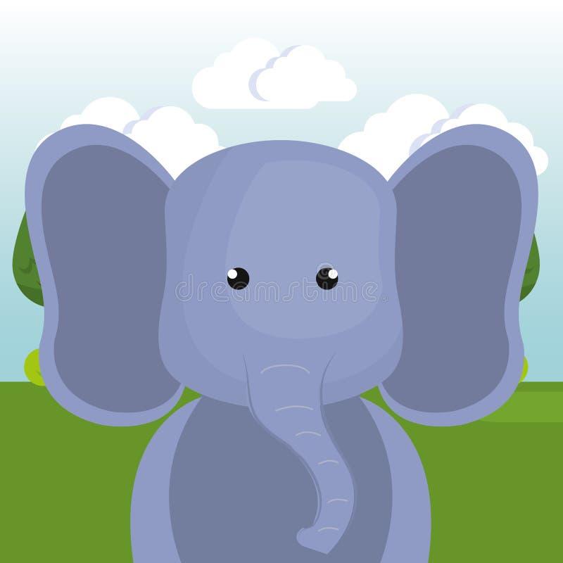 Elefante lindo en el carácter del paisaje del campo libre illustration